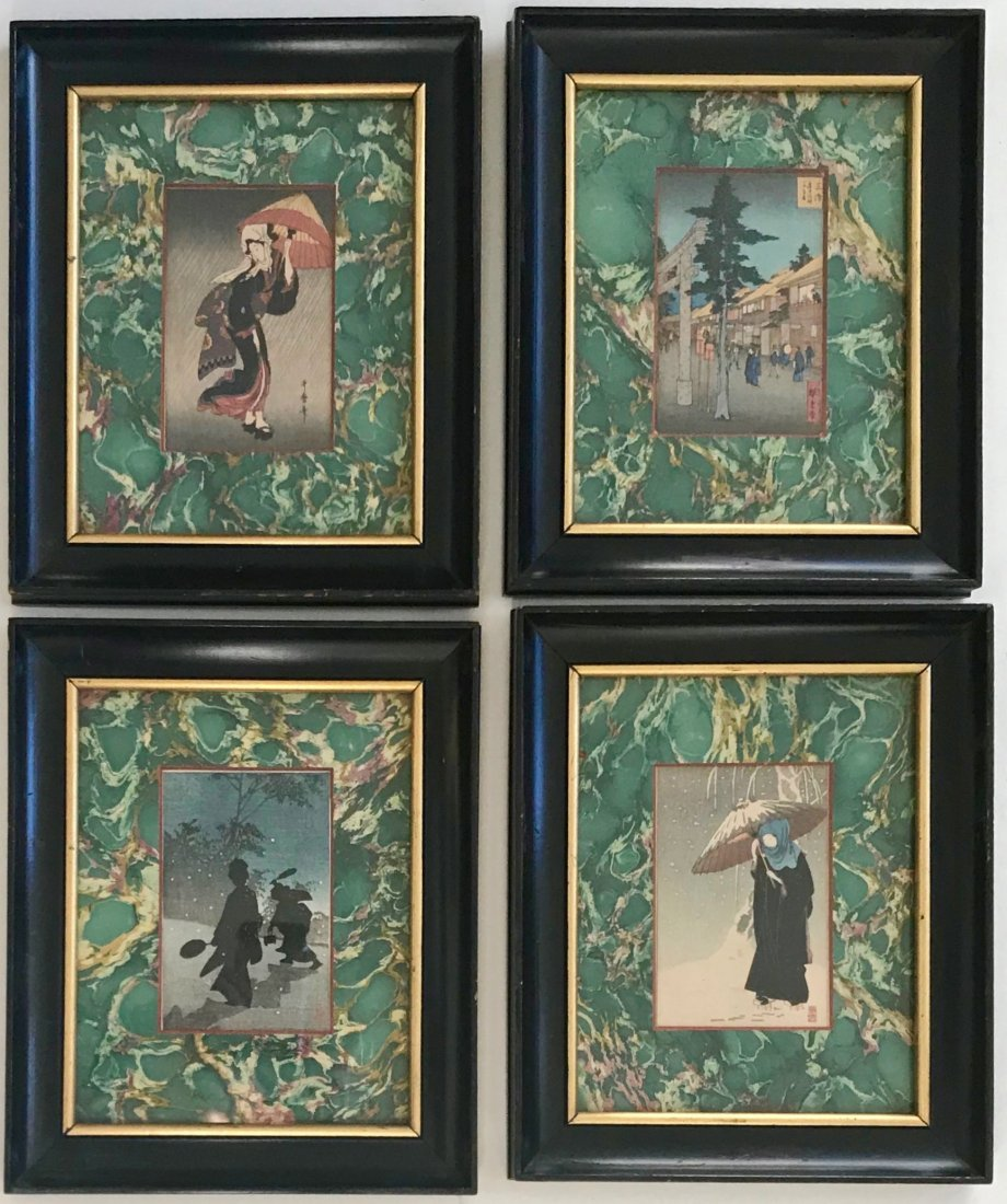 Four Antique Japanese Woodblocks, Signed