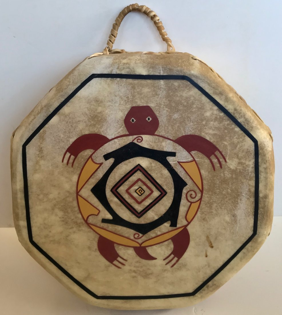 Native American Indian Painted Turtle Hide Drum
