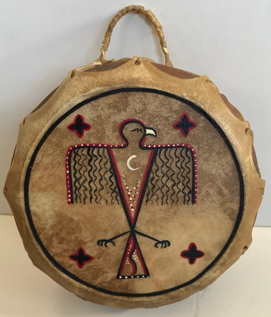 Native American War Eagle Painted Hide Drum