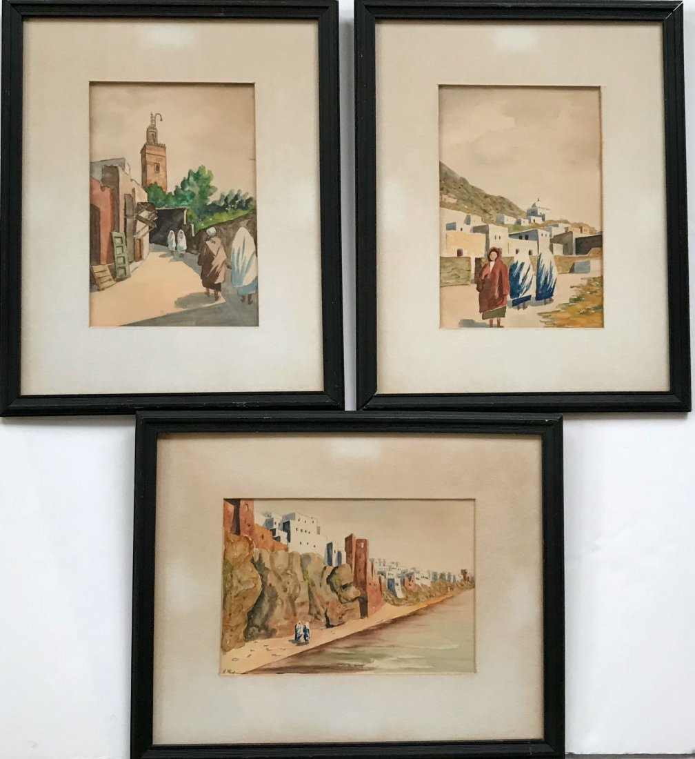 Three Moroccan Watercolor Paintings, Signed 1930's