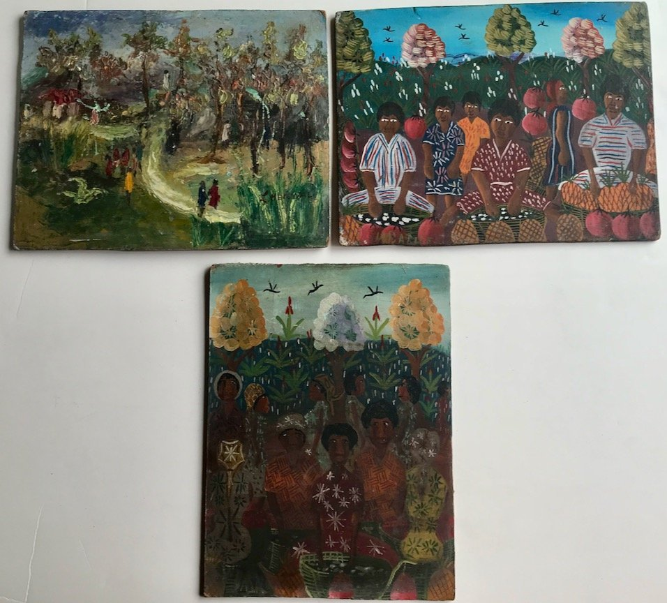(3) Haitian Folk Art Oil Paintings On Masonite, Signed