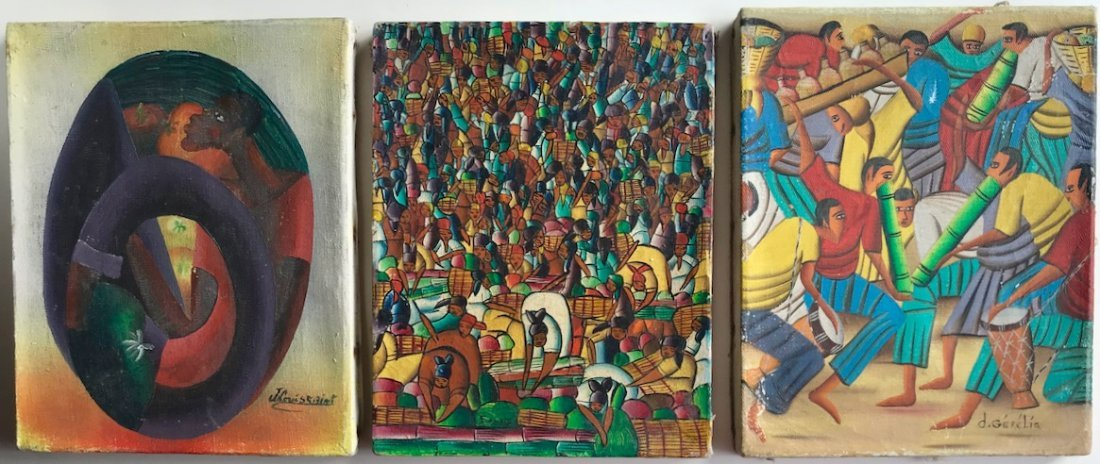 (3) Haitian Landscape & Market Oil Paintings, Signed