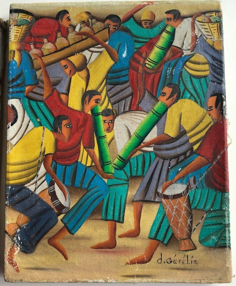 (3) Haitian Landscape & Market Oil Paintings, Signed - 2