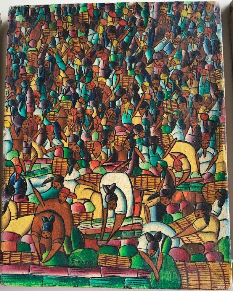 (3) Haitian Landscape & Market Oil Paintings, Signed - 3