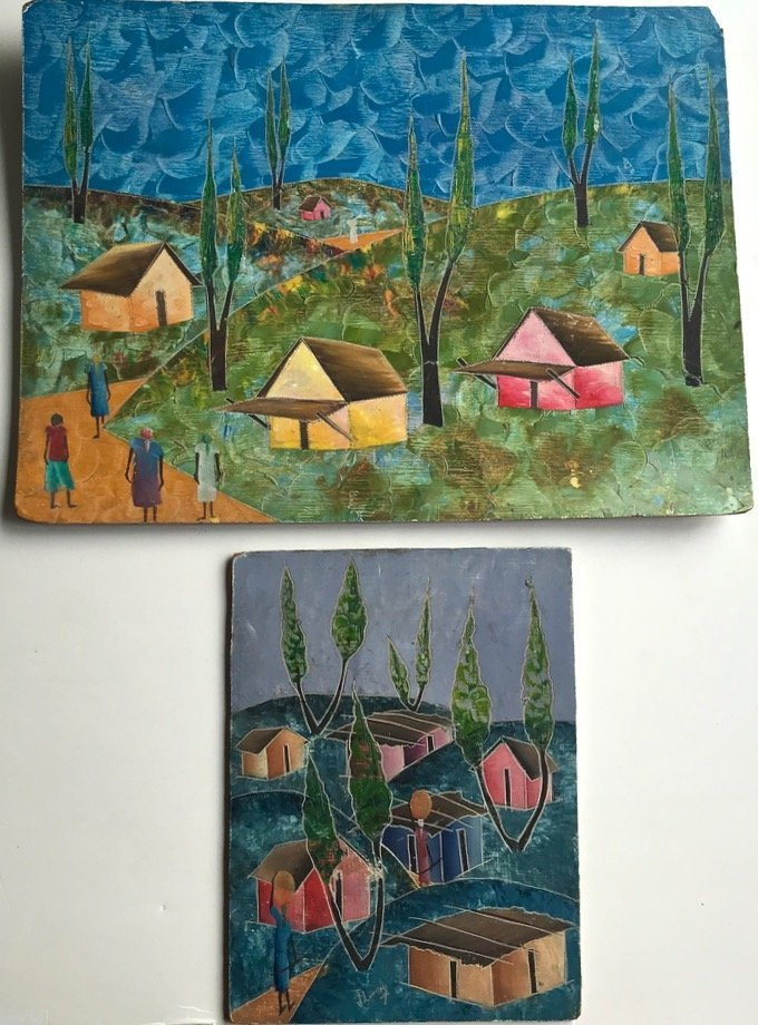 (2) Haitian Folk Art Oil Paintings On Masonite, J.Lundy