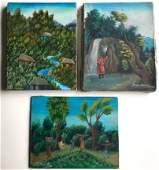3 Haitian Village  Farming Landscape Paintings Signed