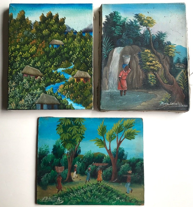 3 Haitian Village & Farming Landscape Paintings, Signed