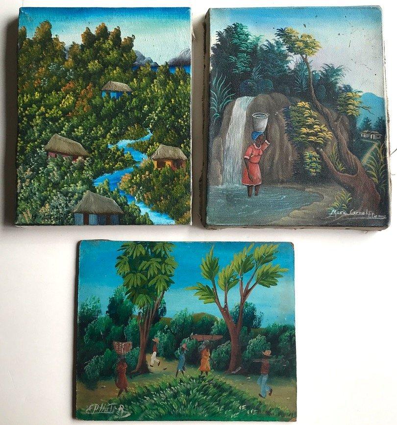 3 Haitian Village & Farming Landscape Paintings, Signed