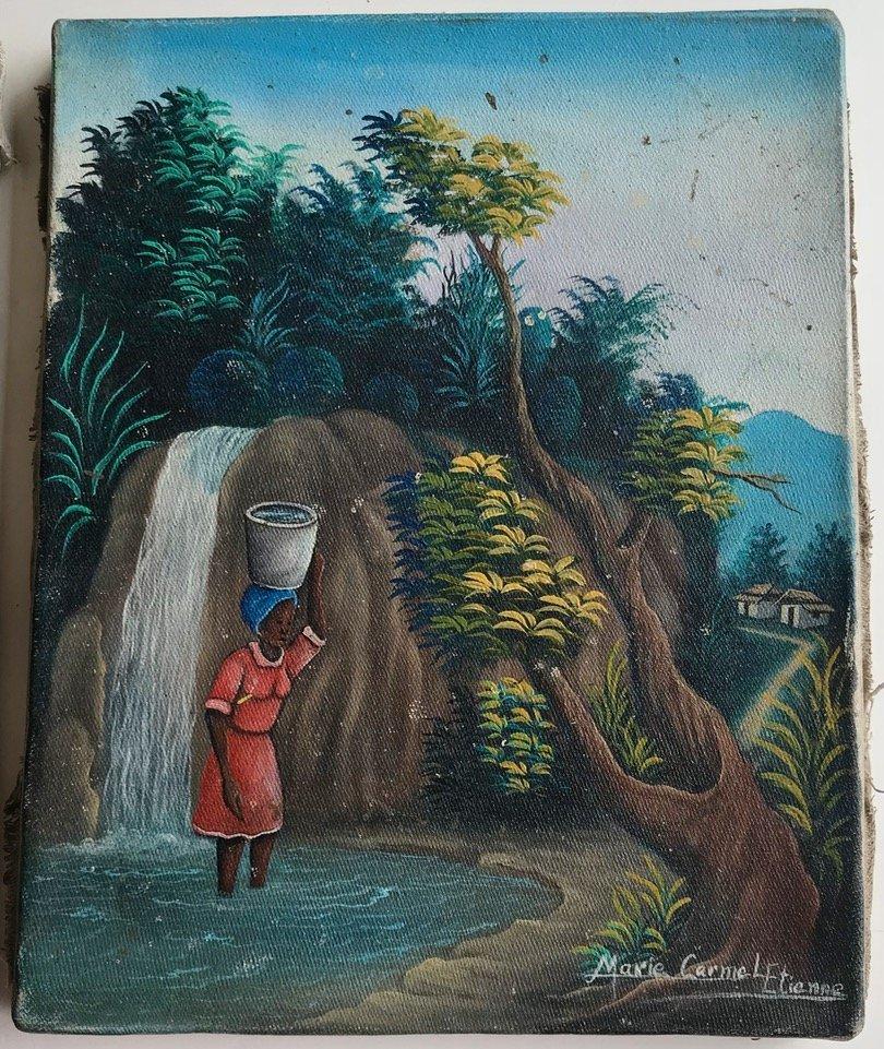 3 Haitian Village & Farming Landscape Paintings, Signed - 2