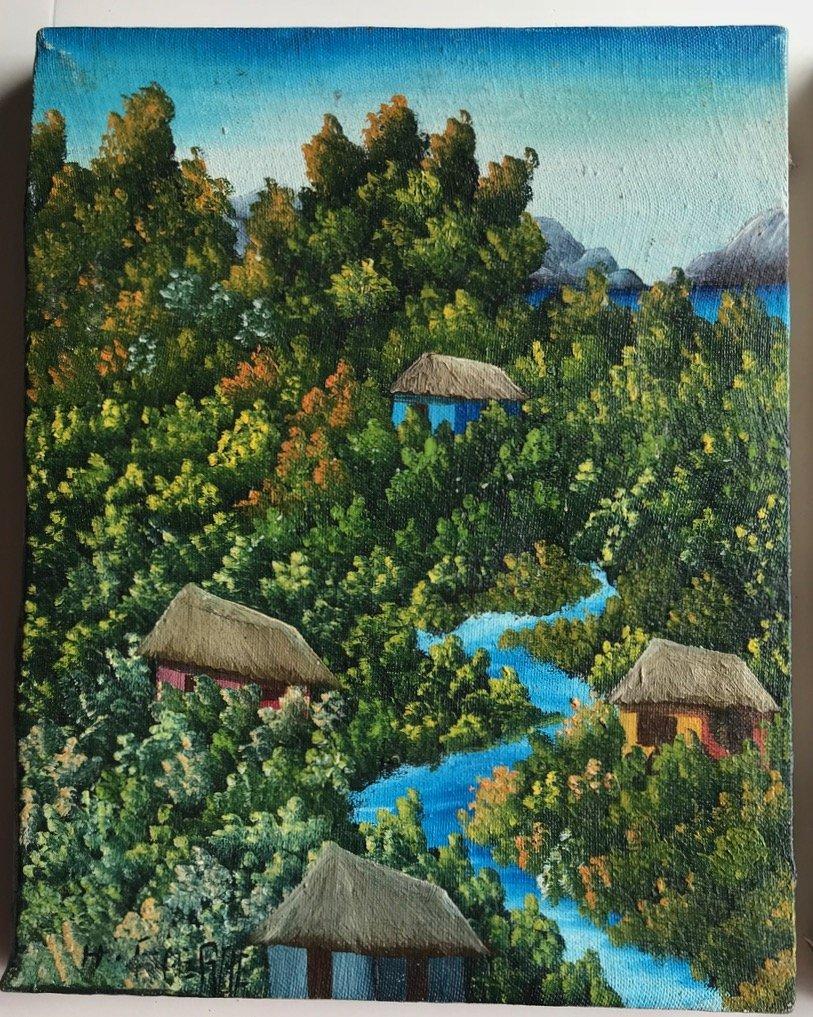 3 Haitian Village & Farming Landscape Paintings, Signed - 4