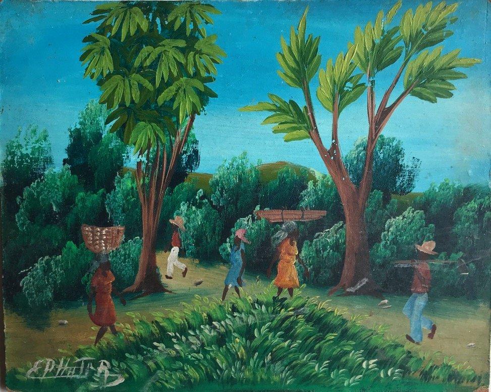 3 Haitian Village & Farming Landscape Paintings, Signed - 6