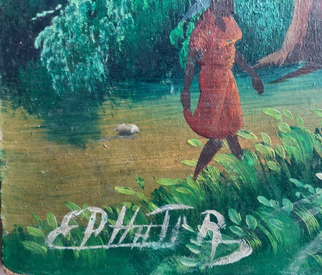 3 Haitian Village & Farming Landscape Paintings, Signed - 7
