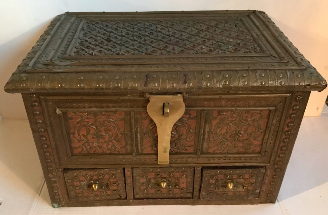 Anglo-Indian Hand Tooled Metalwork Chest