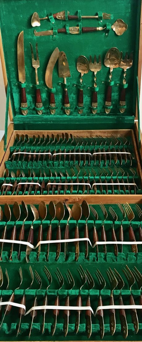 Rosewood & Brass Siam Flatware Set 1950's (144 pieces)