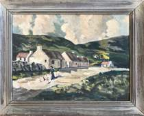 European Village Landscape Oil Painting Signed