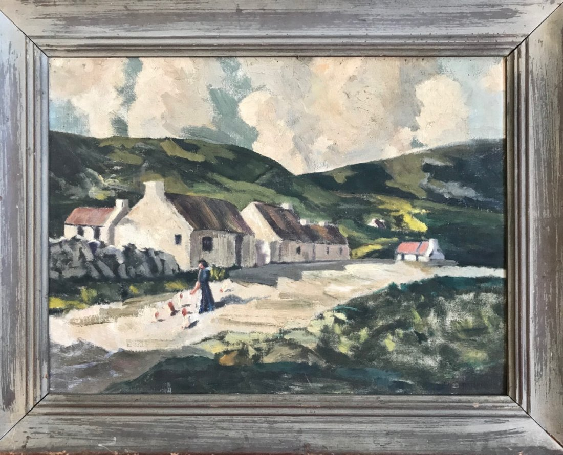 European Village Landscape Oil Painting, Signed