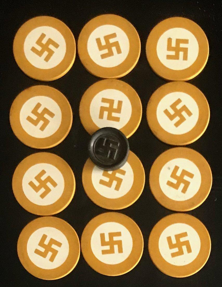 Set of Swastika Poker Chips, Pre Nazi, U.S.A. Made