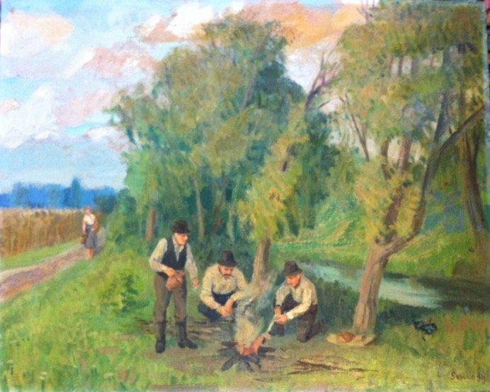 Hungarian Farmland Landscape Painting, Istvan Somogyi