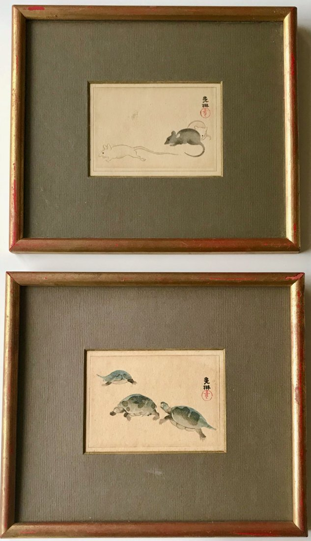 Japanese Watercolor Paintings,Turtles & Rat,Signed (2)