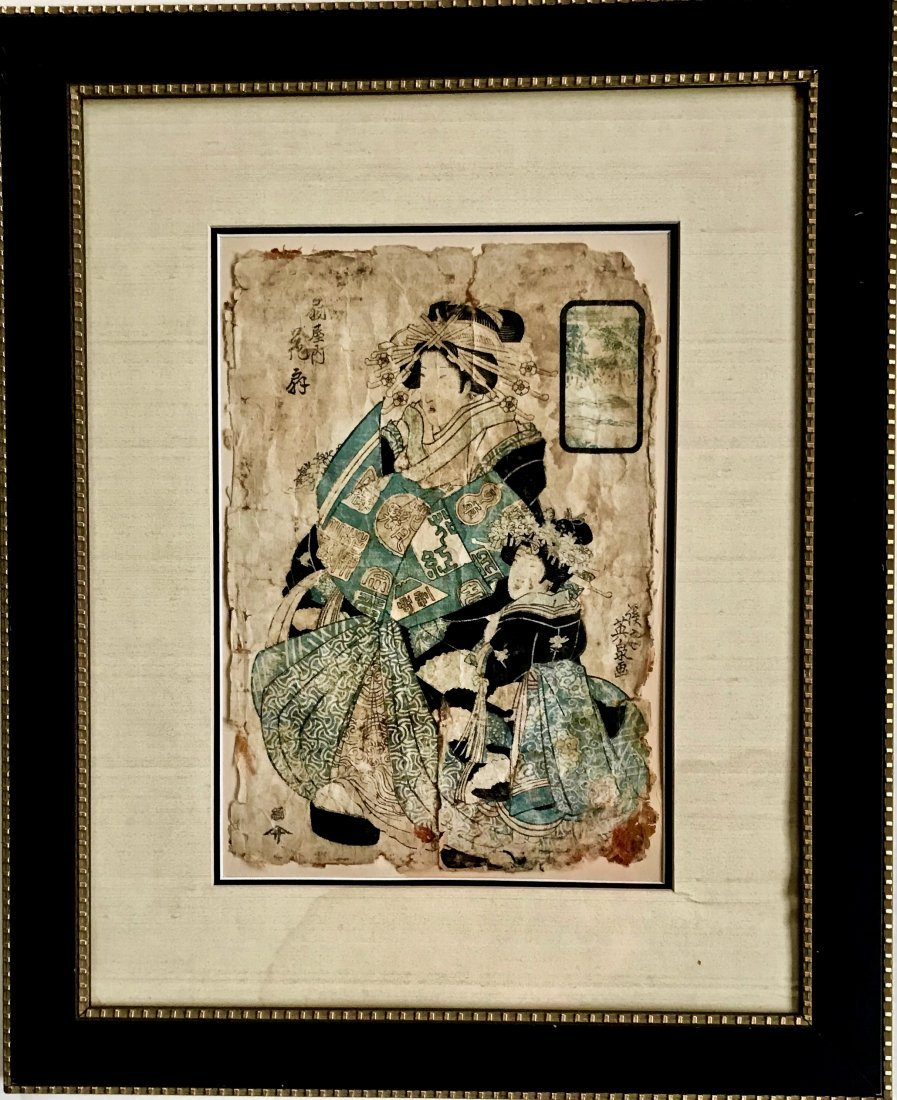 "19th Century Japanese Woodblock ""Courtesan"" Inscribed"
