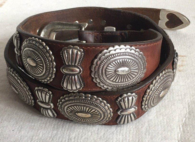 Native American Leather Silver Concho Belt