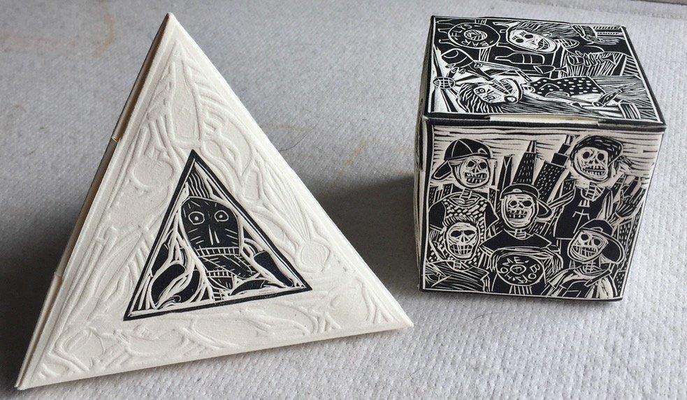 (2) Modern Mexican Linocut Sculptures, J. Rendon