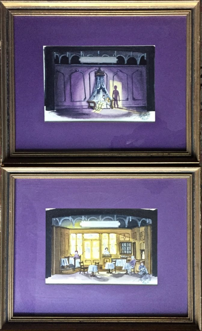 Two Scenery Stage Set Design Paintings, Chicago 1970