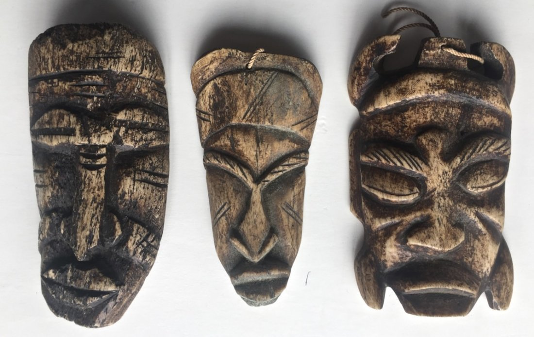 Lega Tribe Carved Bone Passport Masks, Congo (3)
