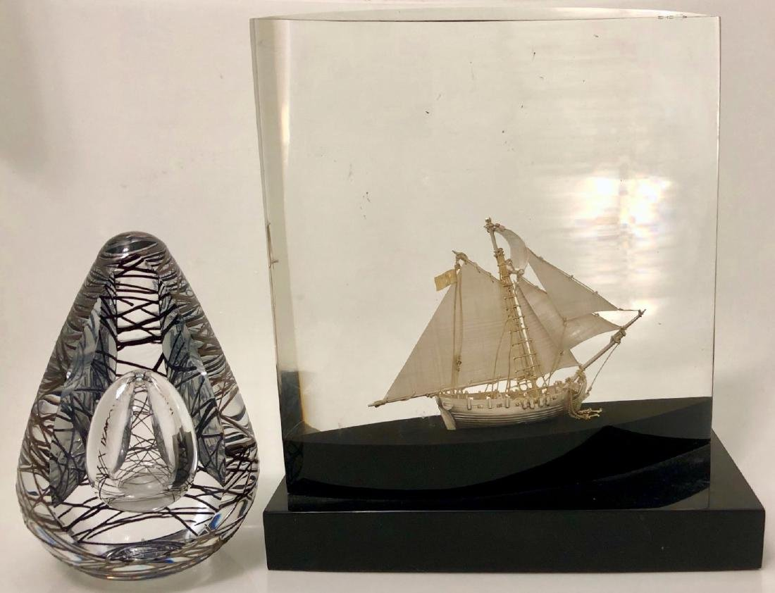 Sterling Silver Ship and Art Glass Silver Paperweight