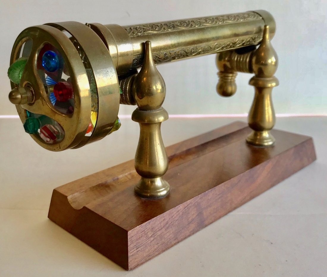 Antique Double-Wheel Brass Kaleidoscope On Wood Stand