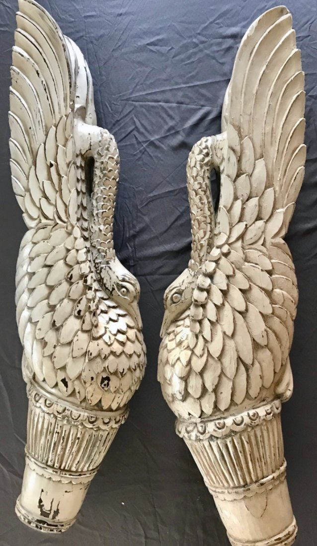 Pair of Carved Painted Wood Swan Architectural Elements