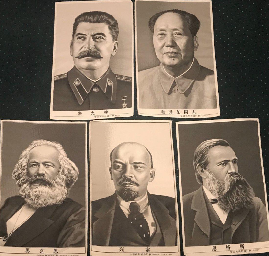 Marx, Engels, Lenin, Stalin & Mao Woven Silk Textiles