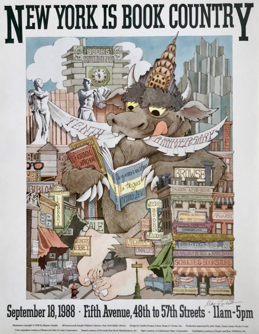 New York Is Book Country Signed By Maurice Sendak, 1988