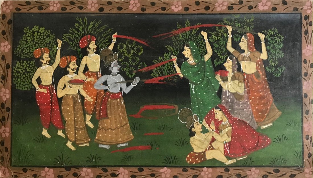 Indian Painting On Cloth Courtship Ceremony