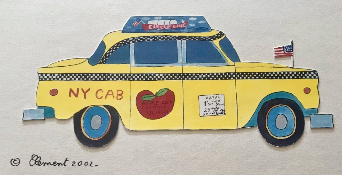 "Pop Art Collage Painting ""N.Y.C. Yellow Taxi"" Signed"