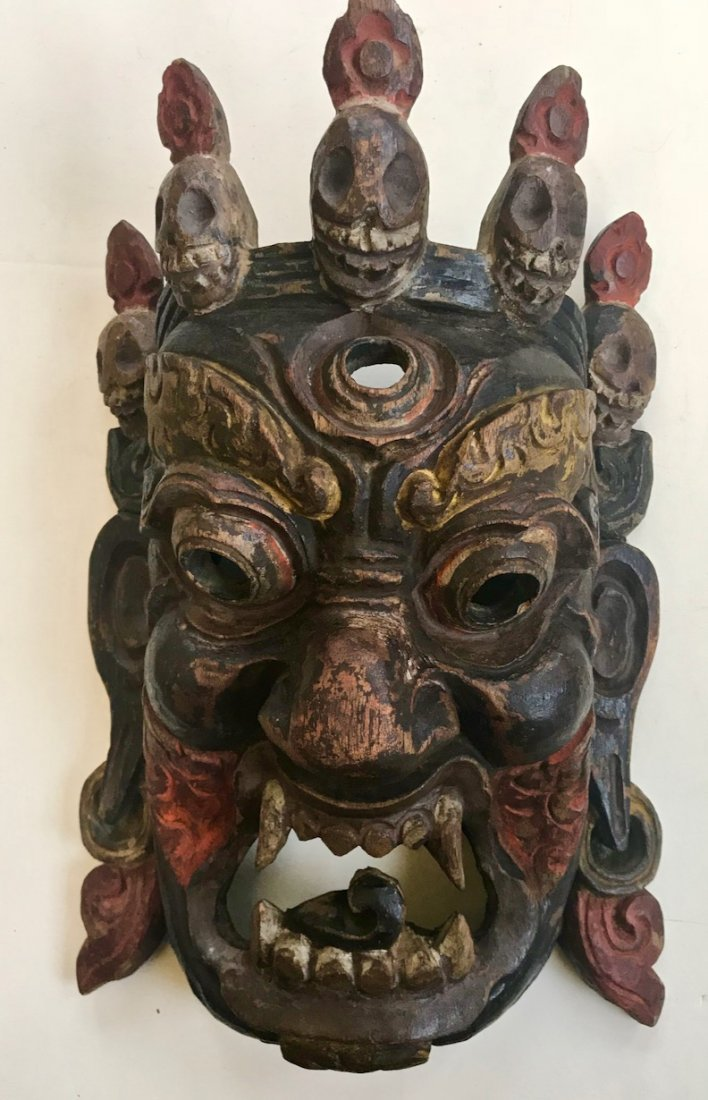 Antique Tibetan Carved Mahakala Wrathful Deity Mask