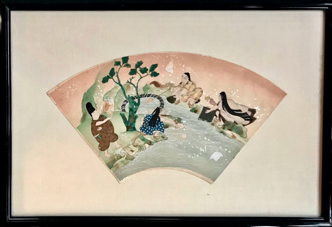 Chinese Watercolor Painting On Fan Paper, 19th C.