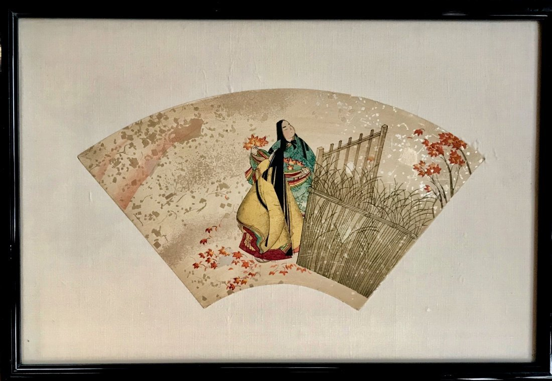 Chinese Watercolor Painting On Paper Fan, 19th C.