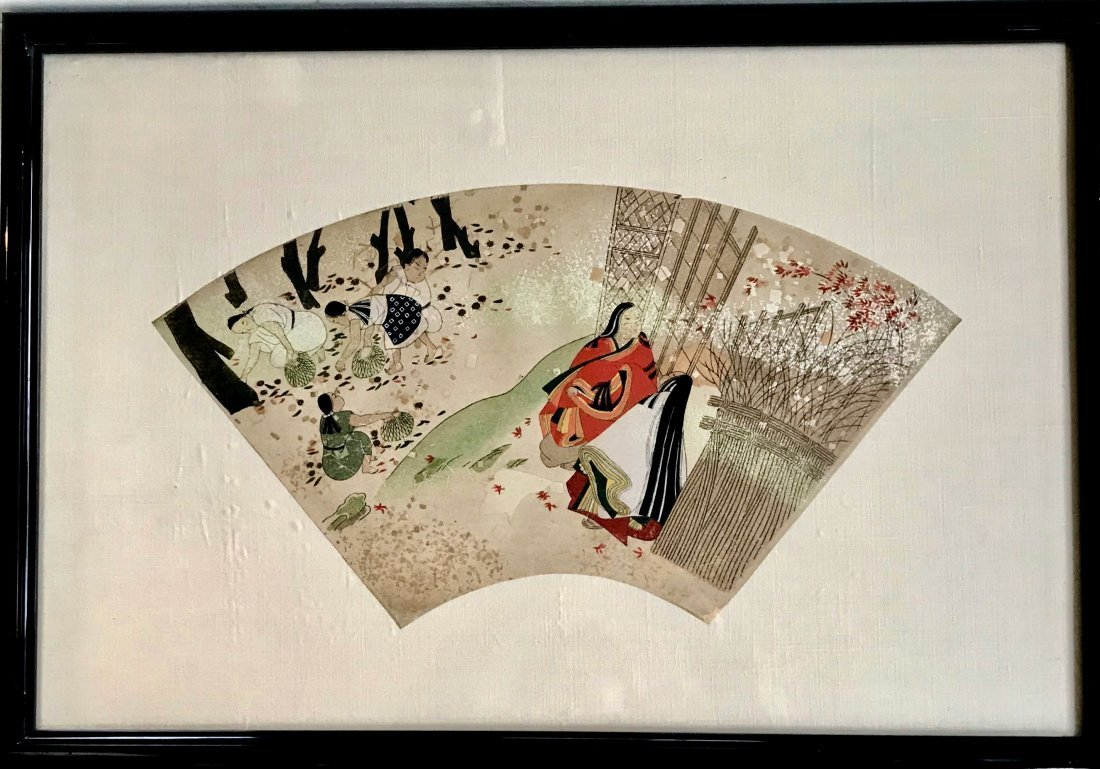 Chinese Watercolor Painting on Paper Fan, 19th Century