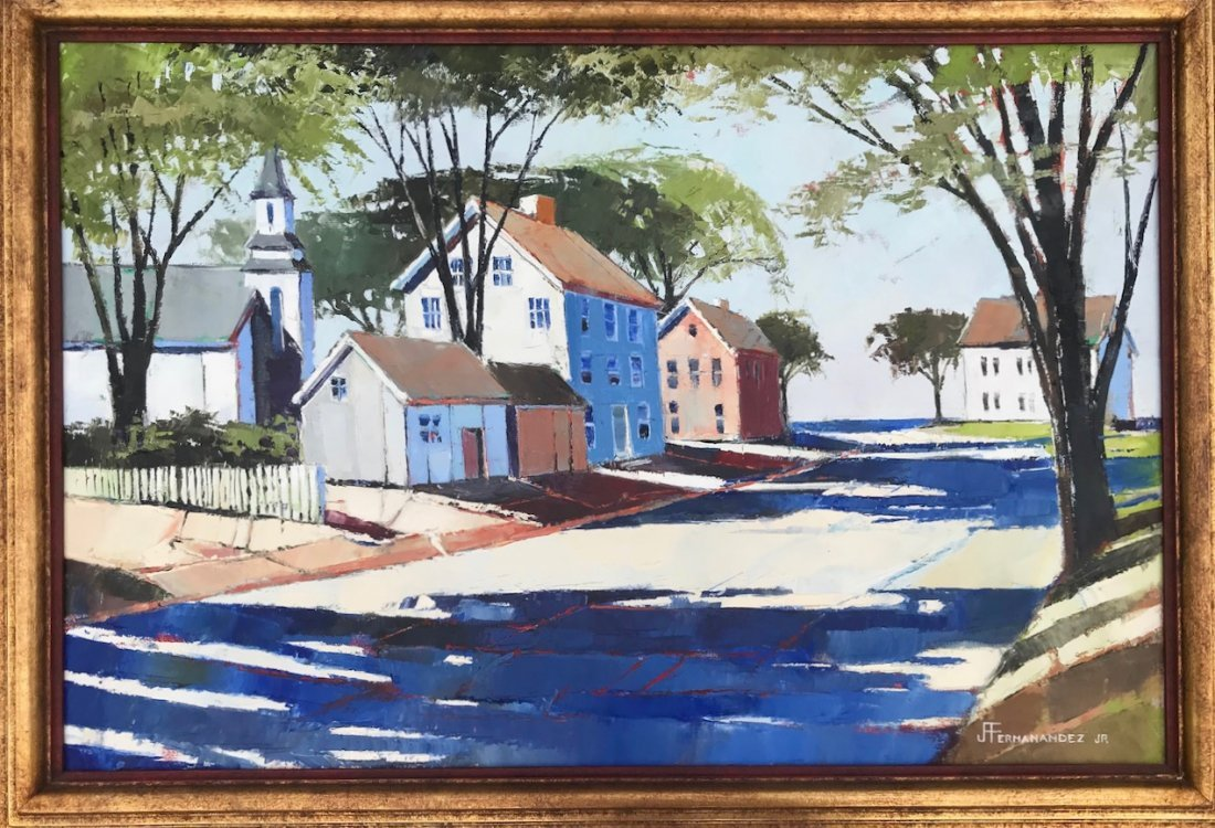 J. Fernandez Jr. Painting,Church Around The Bend 1950's