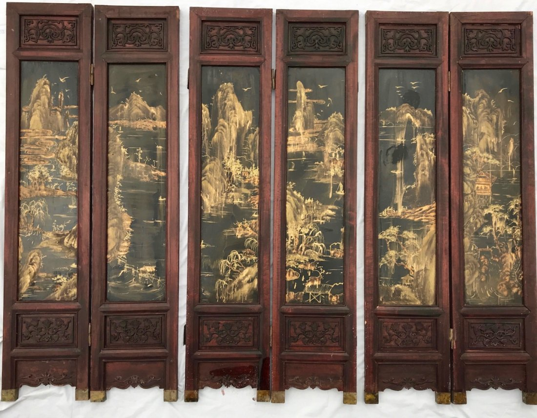 Chinese Six Panel Gilt Painted Lacquer Wood Screen
