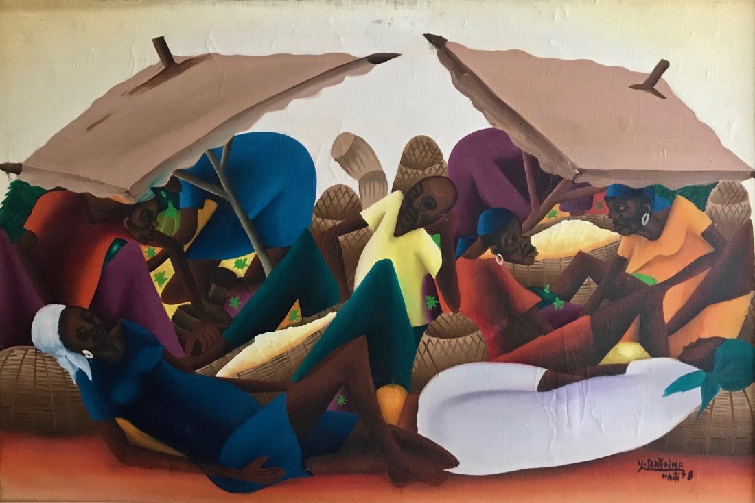 "Haitian Oil Painting,""Market Life"" Antoine 1960's"