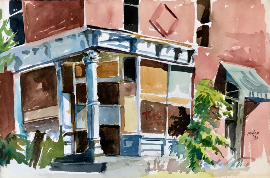 "Linda Novick Urban Watercolor Painting ""Kingston"""