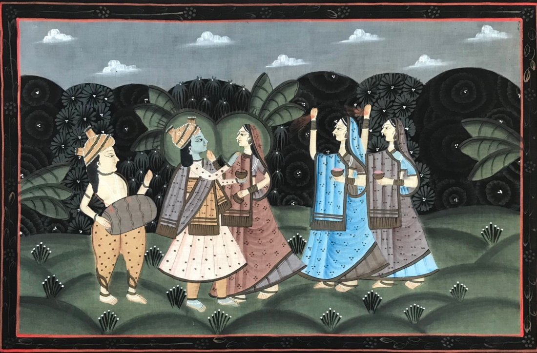 Indian School Figural Ceremonial Painting