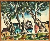 Surreal Watercolor Landscape Painting, Signed 1940's