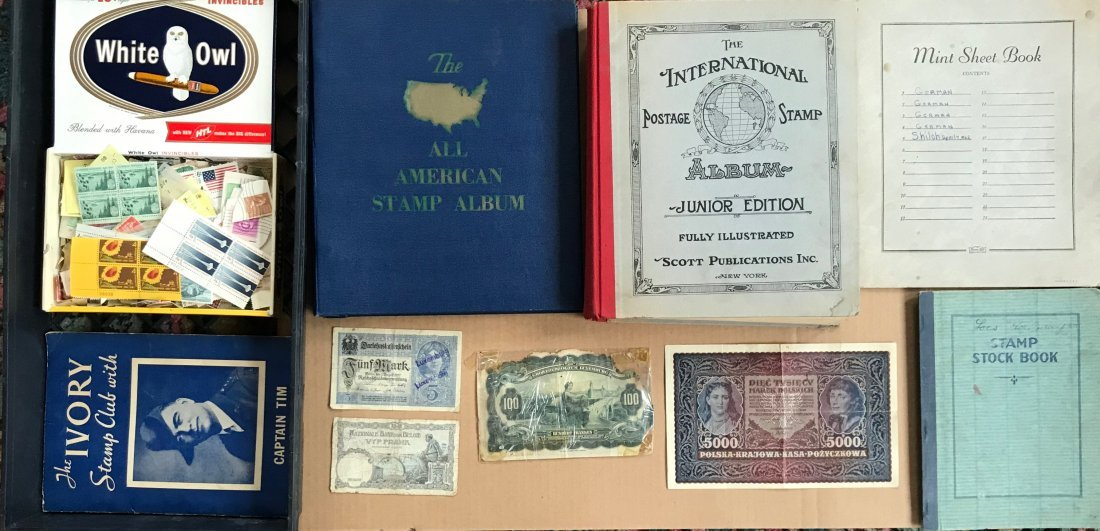 Large Collection of Stamps And Currency