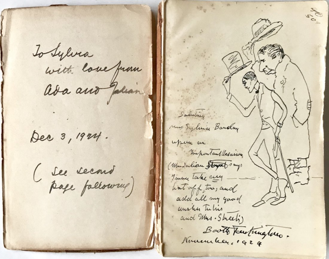 Booth Tarkington Original Drawing & Inscribed Book 1924