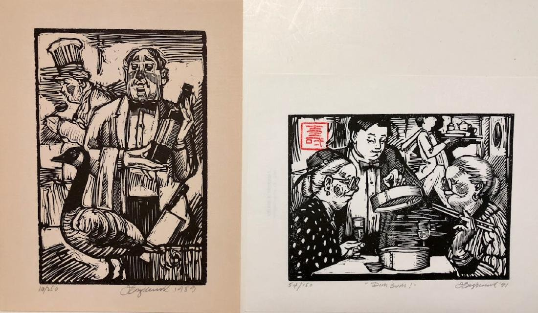"Woodcuts ""Preparing Goose"" & ""Dim Sum"" Tim Engelland"