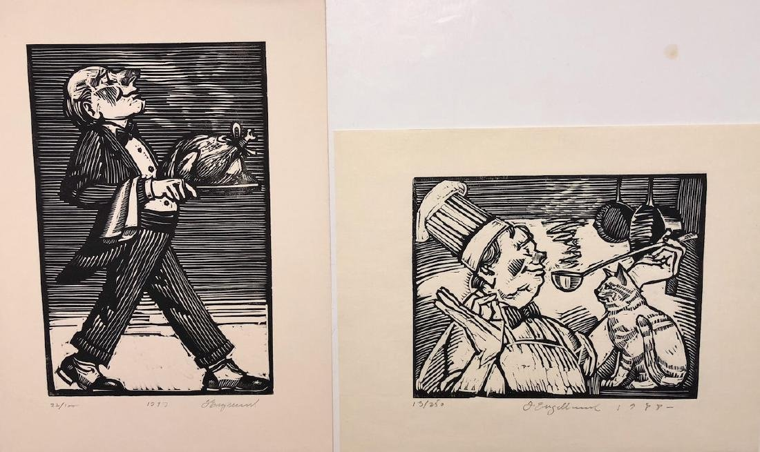 "Tim Engelland Woodcuts ""Kitchen Cat"" & ""Turkey Served"""