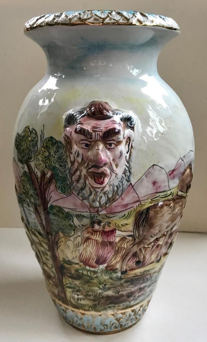 Large Italian Capodimonte Porcelain Satyr Urn